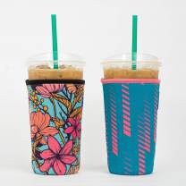 Reusable Insulated Neoprene Iced Coffee Beverage Sleeve | Cold Drink Cup Holder for Starbucks Coffee, McDonalds, Dunkin Donuts, Tim Hortons and More (2 PK Large 32oz, Mimosa & Stripes)