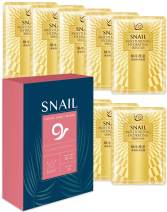 Hawwwy Snail Face Mask Sheet 10-Pack Full Natural Snail Mucin Facial Masks for Skin Care Repair Moisturizer Anti Aging Acne Best Peel Off Facemasks Sheet Mask Products for Men or Women