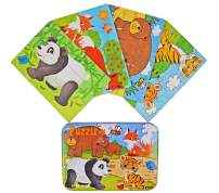 """Vileafy Jungle Animal Series Jigsaw Puzzle Sets, 4-Pack 4 Complexities, Best for 3-5 Years Old Babies to Develop Dexterity and Problem Solving, Free Iron Box for Easy Storage, 6 1/2"""" X 4 1/2"""""""