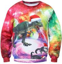 Unisex Christmas Holiday Sweater Sweatshirt Funny 3D Dinosaur Cat Santa Hat Women Men Ugly Xmas Pullover Party Sweater