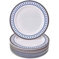 "DISPOSABLE DINNER PLATES | 20 pc | Heavy Duty Plastic Plates for Wedding | Elegant Fine China Look | Renaissance – Royal Blue (10.25"")"