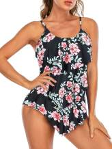 American Trends Bathing Suits for Women One Piece Ruffled Swimsuit Tummy Control Plus Size Swimsuits