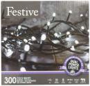 Festive Christmas String Lights, Battery Operated Timer LED, White, 300 bulbs