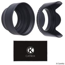 Camera Lens Hoods - Rubber (Collapsible) + Tulip Flower - Set of 2 - Sun Shade/Shield - Reduces Lens Flare and Glare - Blocks Excess Sunlight for Enhanced Photography and Video Footage