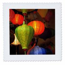 3D Rose Vietnam Colorful Fabric Lanterns for Sale Hoi Square 12 by 12 Inch Quilt, 12 x 12