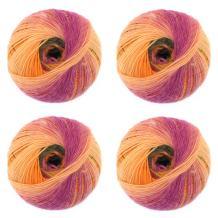 JubileeYarn - 100g Wool Galaxy Fantasy Yarn for Crochet, Knitting - Gradient Stripe Effect - 100g Skein - 4 skeins - Mellow Marigold - Color 111