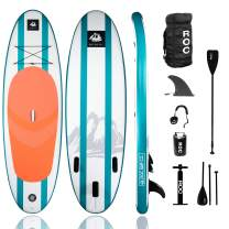 Roc Inflatable Stand Up Paddle Board W Free Premium SUP Accessories & Backpack, Non-Slip Deck Bonus Waterproof Bag, Leash, Paddle and Hand Pump Youth & Adult