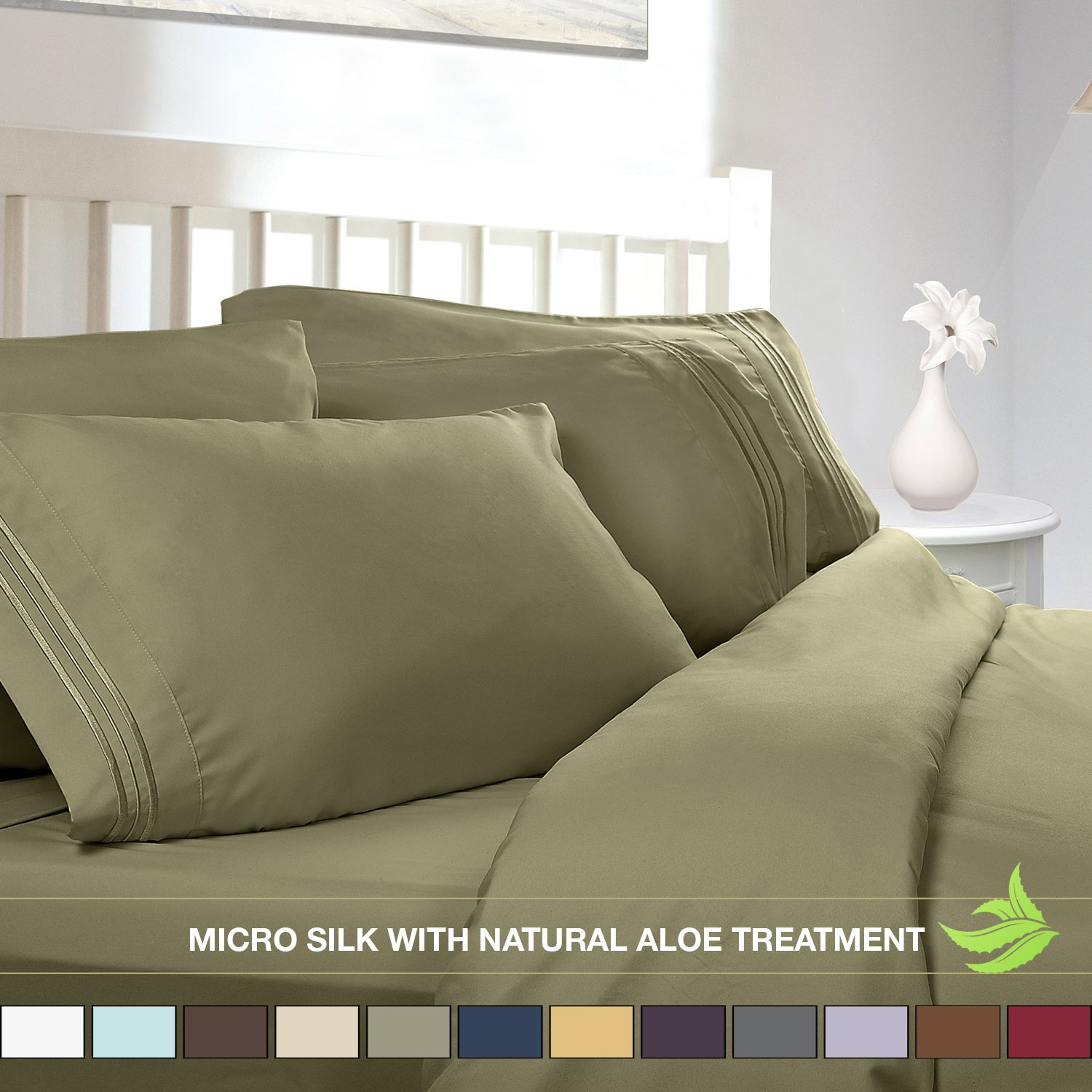 Luxury Bed Sheet Set - Soft MICRO SILK Sheets - Full Size, Sage Green - with Pure Natural ALOE VERA Skin Soothing Moisturizing Treatment - Healthy Calming Properties Will Make You Have A Relaxed and Refreshed Sleep - Highest Quality with Strong Stitching Will Make Your Sheet Set Last For Many Years - Get the Luxurious Look and Silky Feel No Other Sheet Set can Offer - Clara Clark