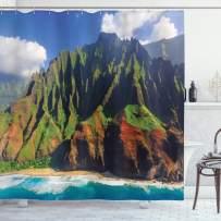 "Ambesonne Hawaiian Shower Curtain, Aerial View of Na Pali Coast Kauai Hawaii Mountain Cliff Seacoast Scenic Photo, Cloth Fabric Bathroom Decor Set with Hooks, 70"" Long, Green Brown"