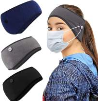 Thermal Headband with Buttons for Face Mask, Fleece Ear Warmer Headbands for Men Women, 3 Pcs Winter Ear Cover for Winter Running Cycling Skiing (Light Grey,Blue,Black)