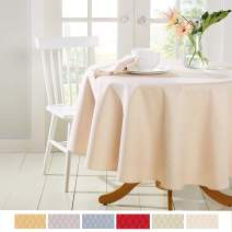 """Town & Country Living McKenna Spring Tablecloth, Stain Resistant Machine Washable Polyester, 70"""" Round Cream"""
