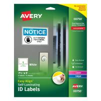 """Avery Professional Grade Self-Laminating Water Resistant ID Labels, 5"""" x 7.5"""", Pack of 5 (00750)"""