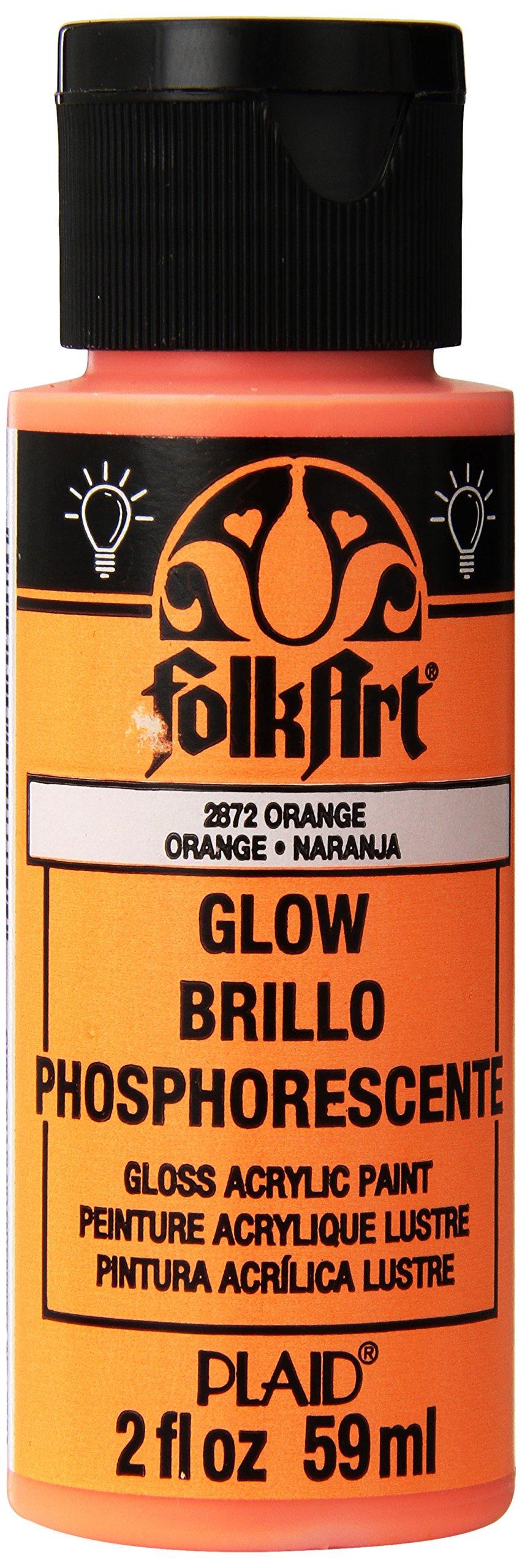 FolkArt Glow in the Dark Acrylic Paint (2 Ounce), Gloss Orange