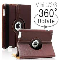 iPad Mini 1/2/3 Case - 360 Degree Rotating Stand Smart Cover Case with Auto Sleep/Wake Feature for Apple iPad Mini 1 / iPad Mini 2 / iPad Mini 3 … (Brown 01)