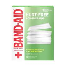 Band-Aid Brand Sterile Hurt-Free Non-Stick Pads, Individually-Wrapped, Large, 3 in x 4 in, 10 ct