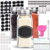 Spice Jars Bottles - 14 Square Glass Containers (4 oz) with 60 Chalkboard Labels, Chalk Marker, Stainless Steel Lid, Shaker Insert Tops and Wide Funnel - Complete Organizer Set