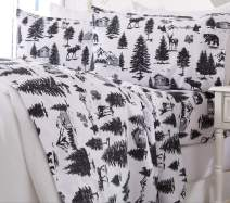 Great Bay Home Extra Soft Printed 100% Turkish Cotton Flannel Sheet Set. Warm, Cozy, Luxury Winter Bed Sheets. Belle Collection (King, December Frost)