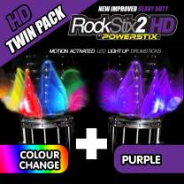 ROCKSTIX 2 HD DEEP PURPLE, BRIGHT LED LIGHT UP DRUMSTICKS, with fade effect, Set your gig on fire! (PURPLE and COLOR CHANGE TWIN PACK)