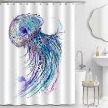 "MitoVilla Jellyfish Shower Curtain Set with Hooks, Watercolor Hand Painting Deep Sea Wildlife with Blue Medusa Artwork for Tropical Marine Themed Home Decorations, Blue, 72"" W x 78"" L for Shower Tub"