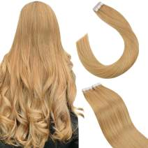 Ugeat Tape in Hair Extensiosn Human Hair 16 Inch Brown Hair Extensions Tape in Human Hair 50g 20pcs Remy Hair Tape in Hair Extensions Natual Hair #27 Blonde Tape on Hair Extensions