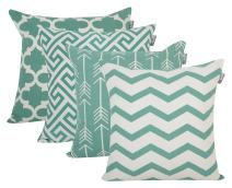 ACCENTHOME Square Printed Cotton Cushion Cover,Throw Pillow Case, Slipover Pillowslip for Home Sofa Couch Chair Back Seat,4pc Pack 18x18 in Teal Color