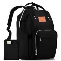 Diaper Bag Backpack - Large Waterproof Travel Baby Bags (Trendy Black)
