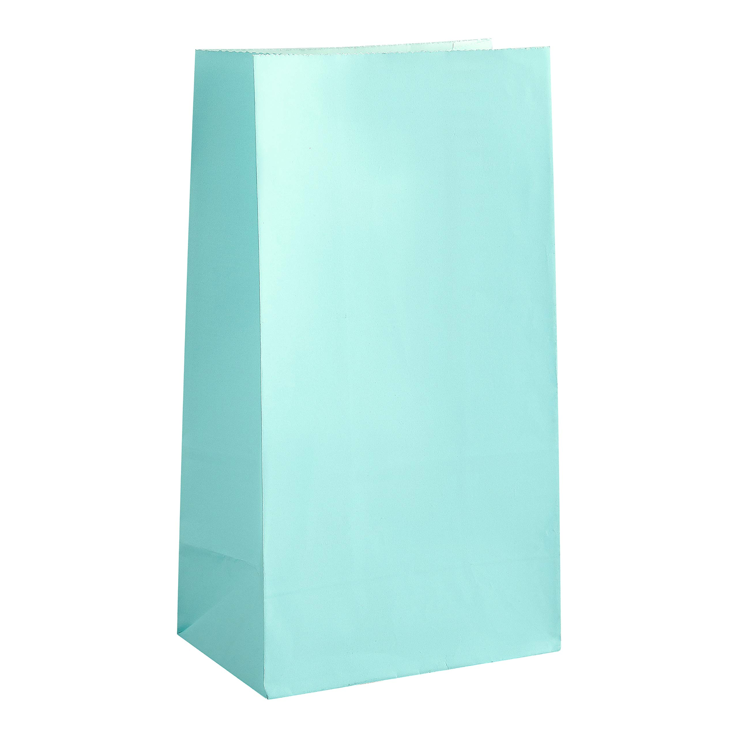 """Party Favor Bag - 50 Pack Light Teal Tiffany Blue Food Grade Paper Lunch Gift Bags for 1st Birthday, Easter or Baby Shower - 5""""x3""""x9"""""""