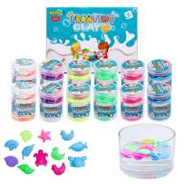 Niceglow Modeling Floating Clay Kit-12pcs Modeling Sand for Floating on Water and Do Not Sink,DIY Marine Animal Model Kinetic Sand,Kids Art Crafts Gift for Boys & Girls(3-10 Years Old or Above)