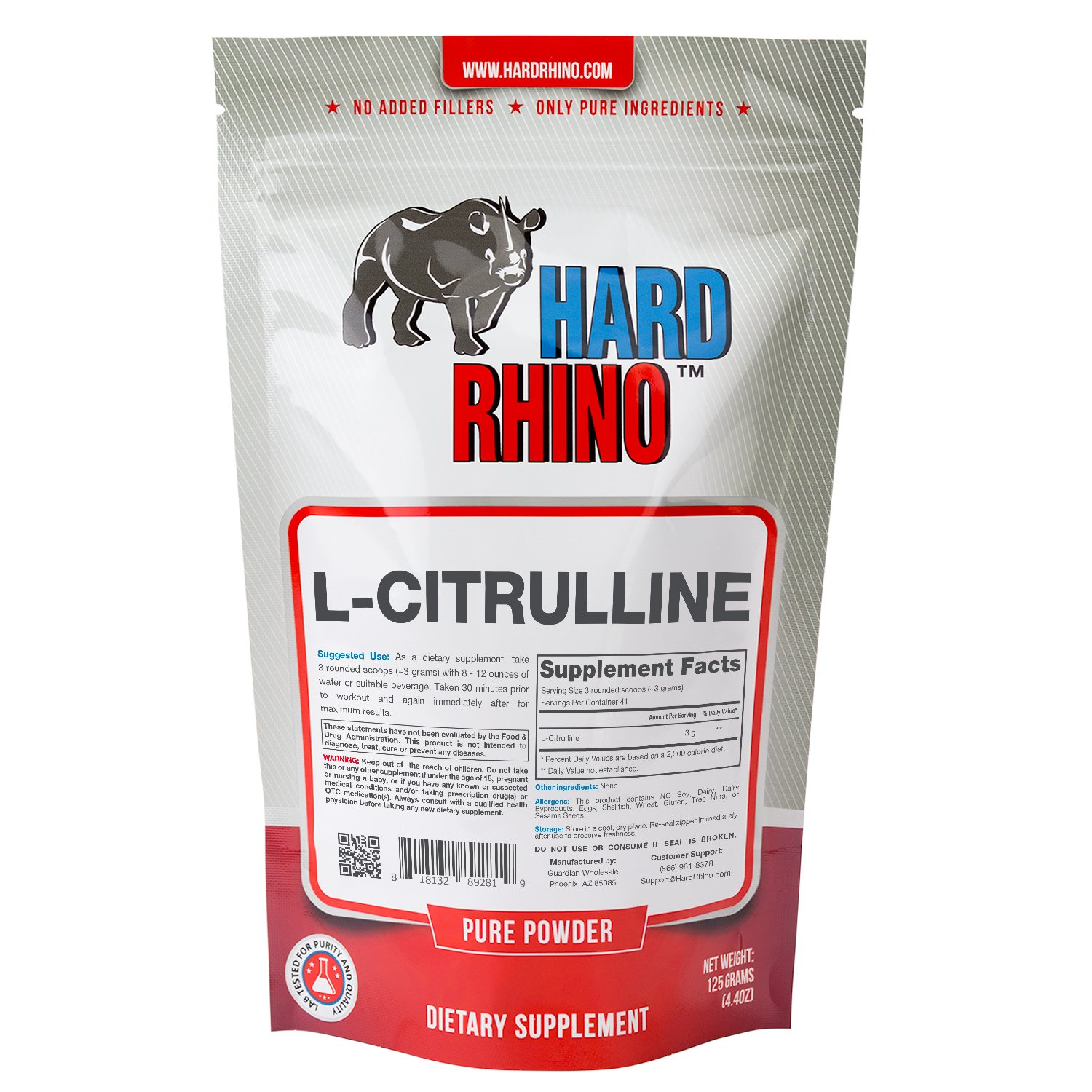 Hard Rhino L-Citrulline Powder, 125 Grams (4.4 Oz), Unflavored, Lab-Tested, Scoop Included