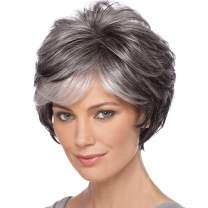 Short Grey Wigs for Women Mixed Grey Pixie Cut Wigs with Bangs Natural Wave Layered Synthetic Wigs Female Short Stylish Curly Wigs(Mixed Grey)