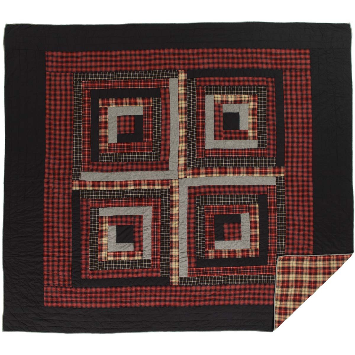 VHC Brands Rustic & Lodge Bedding-Cumberland Quilt, Luxury King, Chili Pepper Red