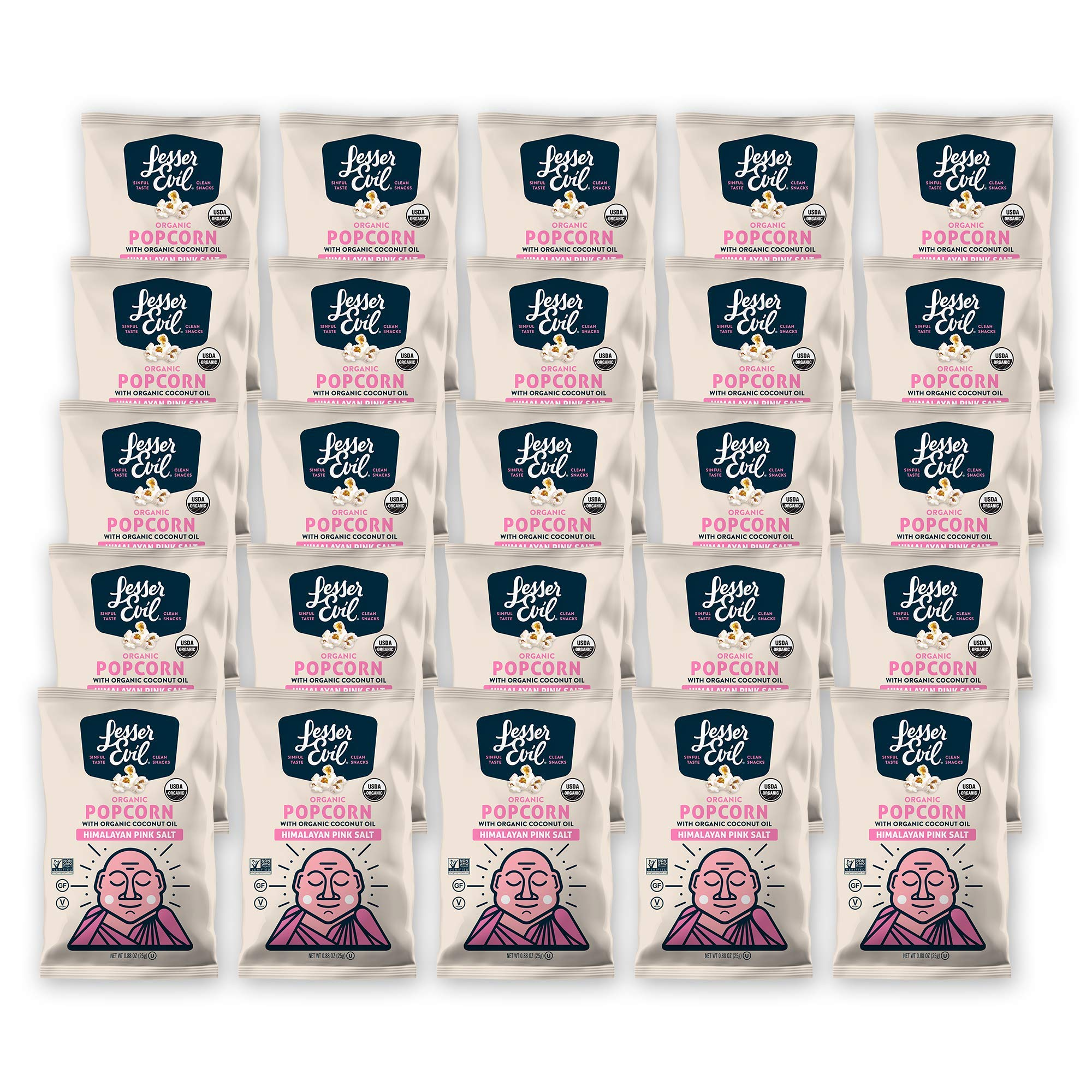 Lesserevil Himalayan Pink Salt Organic Popcorn, 0.88 Ounce (25 Count)