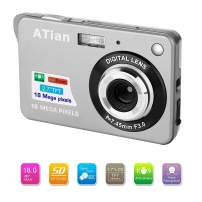 "ATian 2.7"" LCD HD Digital Camera Amazing Rechargeable Camera 8X Zoom Digital Camera Kids Student Camera Compact Mini Digital Camera Pocket Cameras for Kid/Seniors/Student (Silver)"