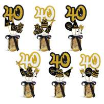 40th Birthday Party Centerpieces Black and Gold Themed Party Centerpieces Sticks Glitter Table Toppers Decorations Party Photo Booth Props Set of 24