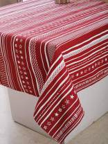 "Plush Home Table Cloth - Red Stripes, 100% Cotton, Rectangular Table Cloth of Size 52""X70 Inch, Eco - Friendly & Safe."