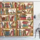 "Ambesonne Cat Shower Curtain, Nerd Book Lover Kitty Sleeping Over Bookshelf Library Academics Feline Boho Design, Cloth Fabric Bathroom Decor Set with Hooks, 84"" Long Extra, Brown Pink"