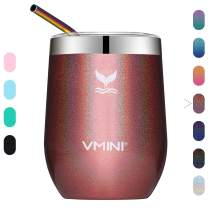 Vmini Wine Tumbler with Lid - Wine Glass, Travel Mug, Stemless Coffee Cup, Vacuum Insulated Stainless Steel, 12 oz Drinkware for Champagne/Whiskey/Cocktail/Beer (Glitter Rose Gold)