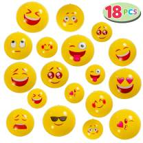 "JOYIN Emoji Beach Balls 18 Pcs Combo Set, 6 in 20"", 6 in 16"" & 6 in 12"", Inflatable Balls for Summer Pool Party Toys, Beach Party Decoration"