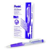 Pentel Twist Erase CLICK Mechanical Pencil, 0.7mm, Clear Barrel, Violet Grip, Box of 12 (PD277TV)