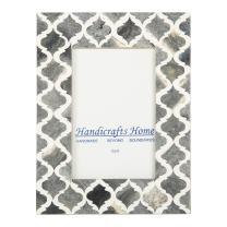 Picture Photo Frame Moorish Damask Moroccan Arts Inspired Handmade Naturals Bone Frames Photo Size 4X6 Inches Grey White