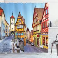 """Ambesonne German Shower Curtain, Rothenburg ob der Tauber Bavaria Germany Famous Street with Colorful Classic Houses, Cloth Fabric Bathroom Decor Set with Hooks, 84"""" Long Extra, Yellow Blue"""