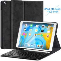 iPad 10.2 Keyboard Case for iPad 7th Generation 2019 10.2 inch with Pencil Holder - Detachable Wireless Magnetic Keyboard Ultra Slim PU Leather Folio Stand Cover, Black