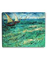 DECORARTS - Fishing Boats at Sea, Vincent Van Gogh Art Reproduction. Giclee Canvas Prints Wall Art for Home Decor 30x24
