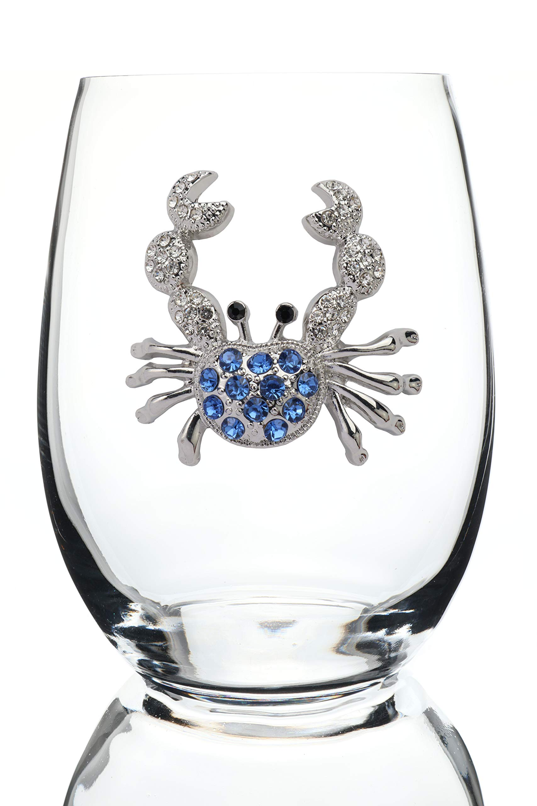 THE QUEENS' JEWELS Blue Crab Jeweled Stemless Wine Glass - Unique Gift for Women, Birthday, Cute, Fun, Not Painted, Decorated, Bling, Bedazzled, Rhinestone