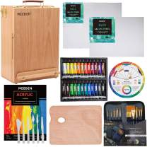 MEEDEN 46-Piece Premium Acrylic Painting Set - Solid Beech Wood Easel box, 24×12ML Acrylic Paint Set, and All The Additional Supplies, Perfect Gifts for Beginning Artists, Students and Kids