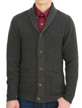 uxcell Men Shawl Collar Front Pockets Single Breasted Long Sleeves Cardigan