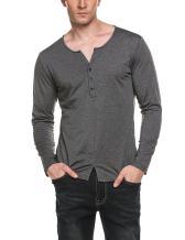 COOFANDY Men's Slit Hem V Neck Solid Long Sleeve Henley T-Shirt