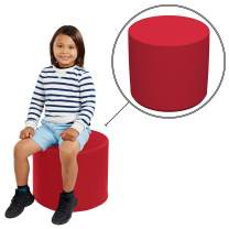 "FDP SoftScape 18"" Round Ottoman, Collaborative Flexible Seating for Kids, Teens, Adults Furniture for Classrooms, Libraries, Offices and Home, Standard 16"" H - Red"