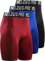 Neleus Men's 3 Pack Dry Fit Compression Shorts