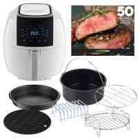 GoWISE USA GWAC22004 5.8-Quarts 8-in-1 Digital Air Fryer with 6-Piece Accessory Kit + 50 Recipes (White), QT
